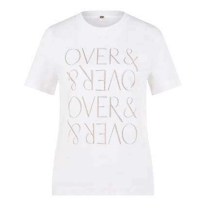 T-Shirt mit Wording-Print und Glitzersteinchen grau (832 dove grey) | XL