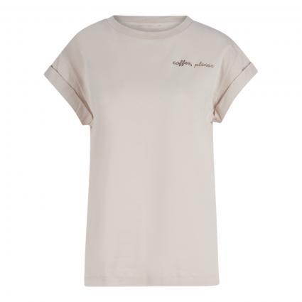 T-Shirt mit Steinchenbesatz camel (216 white coffee) | M