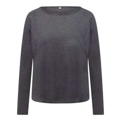 Langarmshirt mit Open Seam anthrazit (875 charcoal) | XS