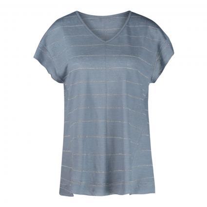T-Shirt mit Schimmer-Streifen blau (756 smoked blue)   XL