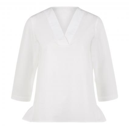 Bluse mit Volant und V-Ausschnitt weiss (100 white) | 36