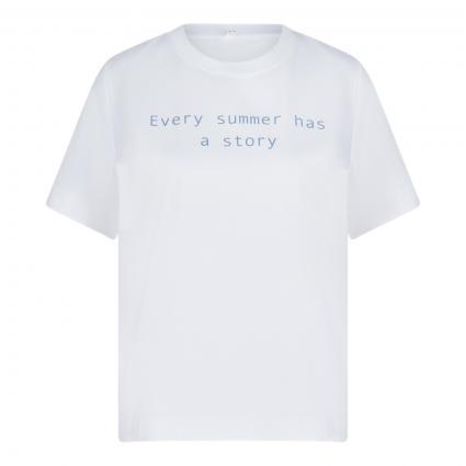 T-Shirt mit Wording blau (756 smoked blue) | M