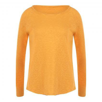 Langarmshirt mit offenen Saumkanten orange (341 golden orange) | XL