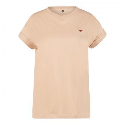 T-Shirt mit Stickerei camel (216 white coffee) | M