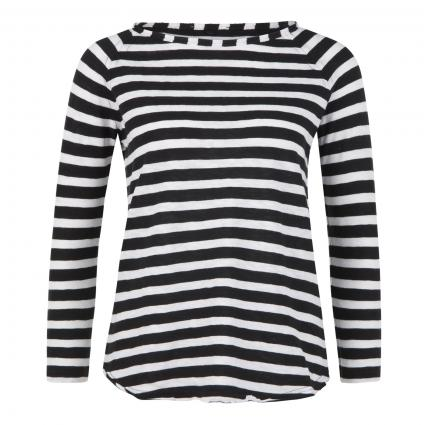 Langarmshirt mit Streifenmuster schwarz (890 black)   L