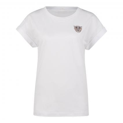 T-Shirt mit Steinchen-Besatz weiss (100 white)   XL