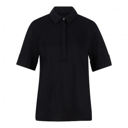 Blusenshirt mit verdeckter Knopfleiste schwarz (0019 schwarz) | 46