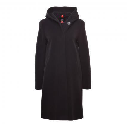 Leicht ausgestellter Mantel mit Kapuze schwarz (0100 SCHWARZ) | 36