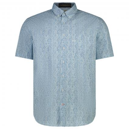 Kurzärmliges Button-Down Hemd mit All-Over Muster  blau (45 sky light)   S