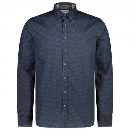 Botton-Down Hemd mit All-Over Muster marine (47 Night Blue)   S