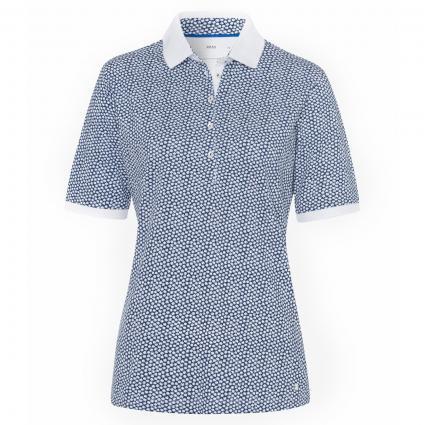 Poloshirt 'Cleo' mit All-Over Muster blau (23 INDIGO) | 44