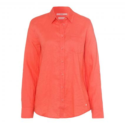 Hemdbluse aus reinem Leinen orange (47 MANGO) | 38