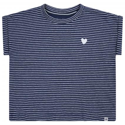 T-Shirt mit All-Over Muster  blau (619 WASHED BLUE STRI) | 98