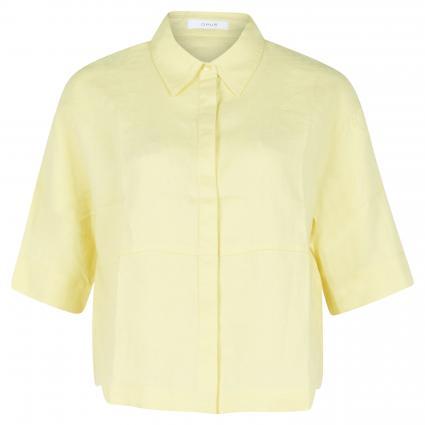 Kurzarmbluse aus Leinen gelb (5072 fresh lemon)   40