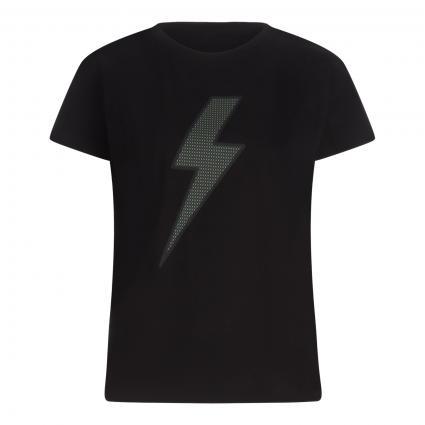 T-Shirt 'Salti Check' mit Front-Print schwarz (900 black) | 44