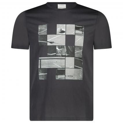 T-Shirt 'Jaames' mit frontalem Tennis-Druck  schwarz (100 acid black) | L