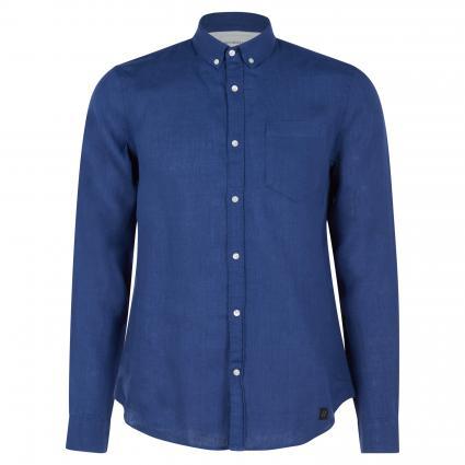 Baumwoll-Hemd mit Brusttasche und Rundhalsausschnitt blau (652 medival blue) | L