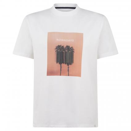 T-Shirt mit Print weiss (107 bright white) | M