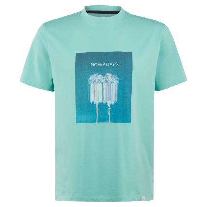 T-Shirt mit Print türkis (663 holiday) | S