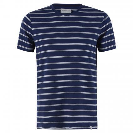 Streifen T-Shirt mit Rundhalsausschnitt blau (652 medival blue) | XXL