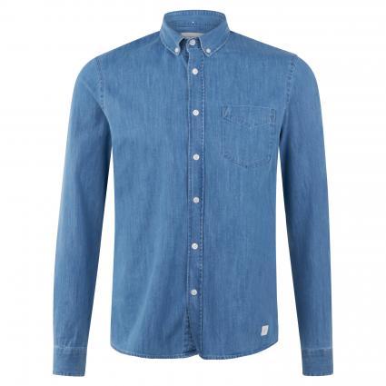 Button-Down Hemd in Denim-Optik blau (667 poseidon blue) | XL