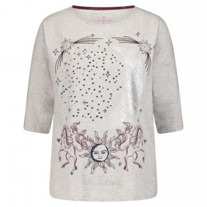 T-Shirt 'Charis L' mit Print und Stickerei silber (920 silver) | XS