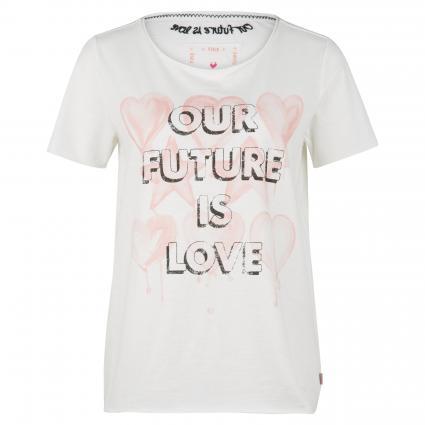 T-Shirt mit 'Cirsten L' mit Front-Print ecru (110 offwhite) | XS