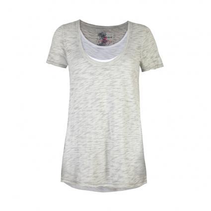 T-Shirt 'Milla L' in Lagen-Optik grau (910 stone) | M