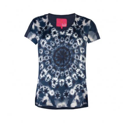 Blusenshirt 'Rula L' in Batik-Optik blau (460 jeans) | 40