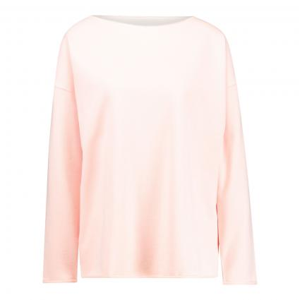 Fleece Sweater 'Casua' mit offenen Saumkanten orange (517 bellini) | M