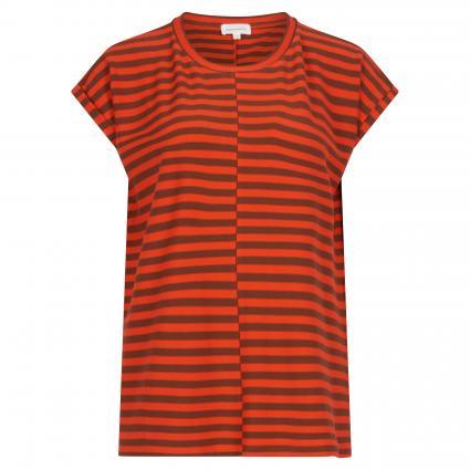 T-Shirt mit Streifenmuster orange (1496 glossy orange-c) | L