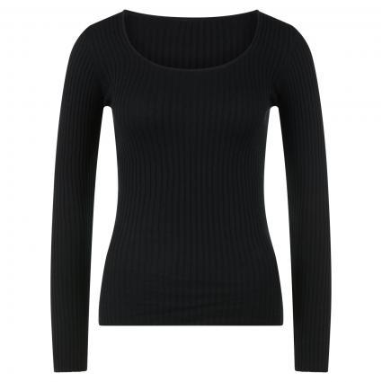 Langarmshirt 'Alaani' mit Rippstruktur schwarz (105 black) | XL