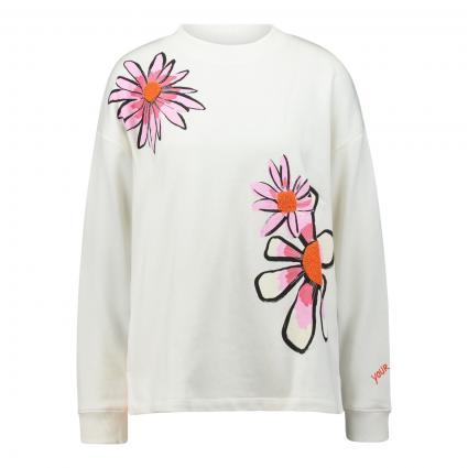 Sweatshirt 'UtinaL' mit Blumenmotiv ecru (110 offwhite) | M