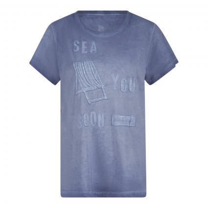 T-Shirt 'Druana L' mit Zierstich marine (485 dark denim) | L