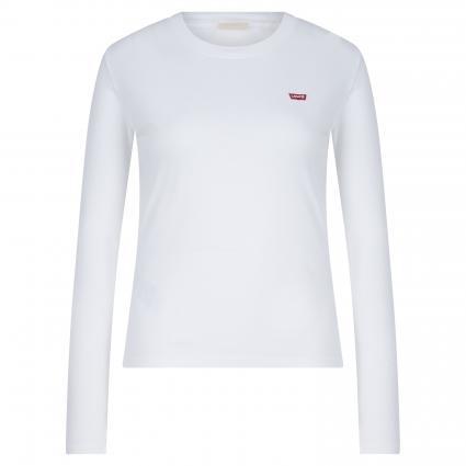 T-Shirt mit Logo-Stickerei weiss (0000 WHITE +) | S