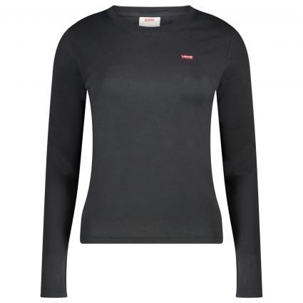 T-Shirt mit Label-Stickerei schwarz (0014 CAVIAR) | XL