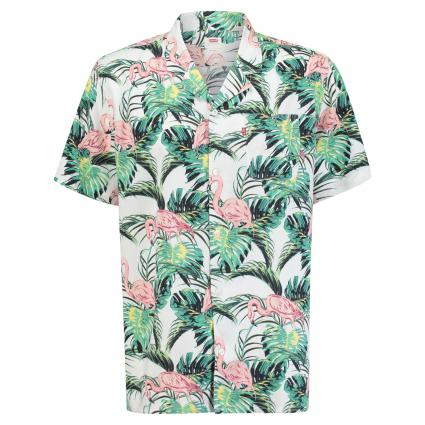 Kurzarm-Hemd mit all-over Print divers (0014 FLAMINGO LEAF P) | M