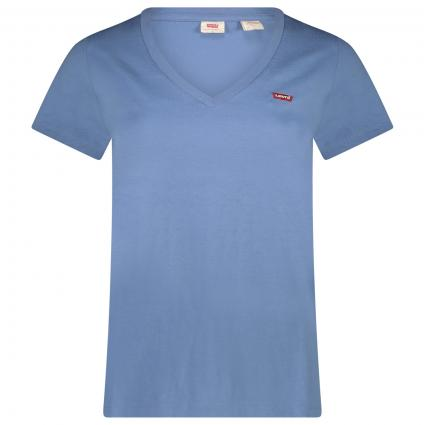 T-Shirt mit V-Ausschnitt blau (0014 COLONY BLUE) | XS
