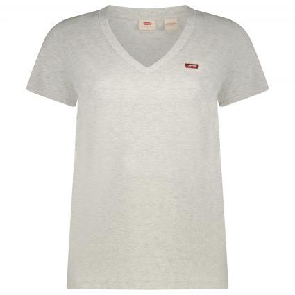 T-Shirt mit V-Ausschnitt  divers (0020 ORBIT HEATHER G) | XS