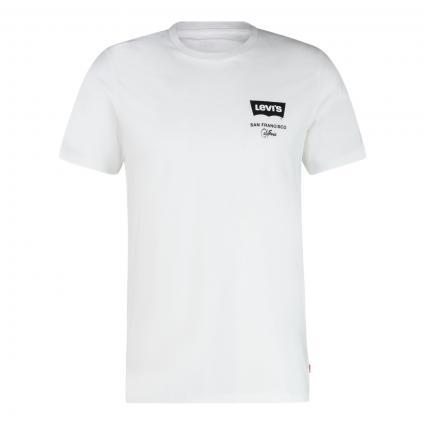 T-Shirt mit Label-Print  weiss (0428 LEFT CHEST BATW)   L