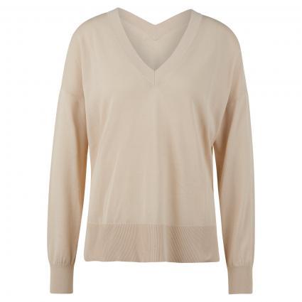 Oversize Pullover 'Dida' mit V-Ausschnitt ecru (10534 QUICKSAND) | XS