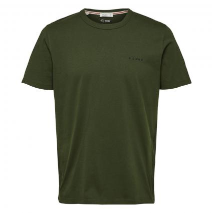 T-Shirt mit Logostickerei oliv (207654 Rifle Green) | M