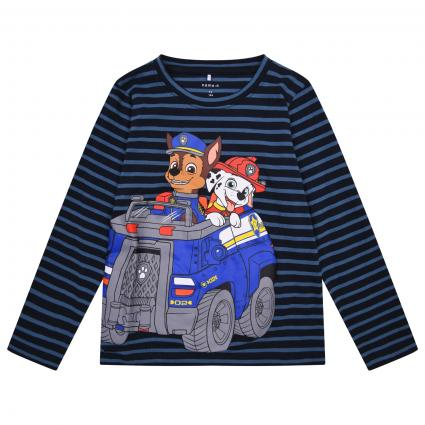 T-Shirt langarm, gestreift mit Paw-Petrol-Print marine (216654 Dark Sapphire) | 86