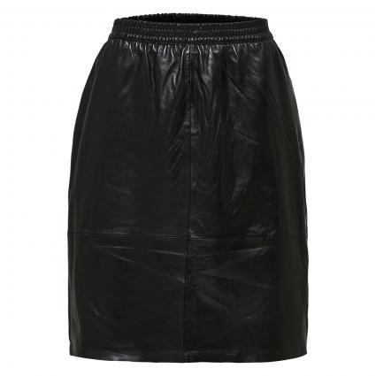 Lederrock mit elastischem Bund schwarz (179099 Black) | 40