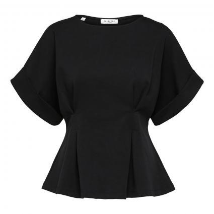T-Shirt mit Falten-Details schwarz (179099 Black) | XS