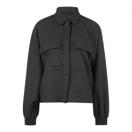 Bluse im Jacken-Style und Ballonärmel anthrazit (180591 Dark Grey Mel)   42