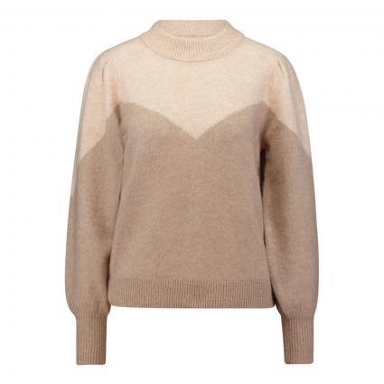 Pullover mit Ballonärmel und Colourblock Muster beige (212191001 Tuffet/WIT) | XL