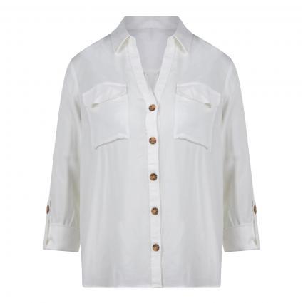 Bluse mit Tunika-Ausschnitt aus reiner Viskose weiss (175598 Snow White)   L