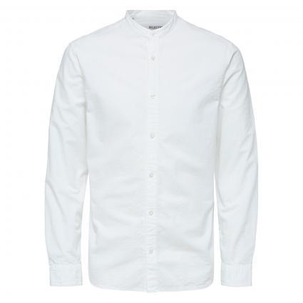 Regular-Fit Hemd mit Stehkragen  weiss (179651 Bright White) | L