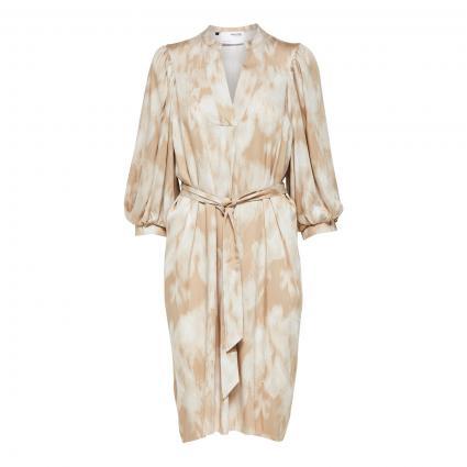 Kleid mit All-Over Muster camel (199069001 Nomad/AOP) | 36